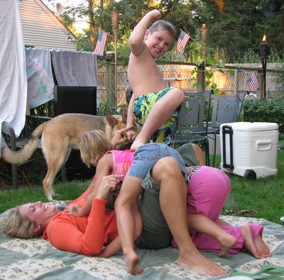Naked girl dogpile